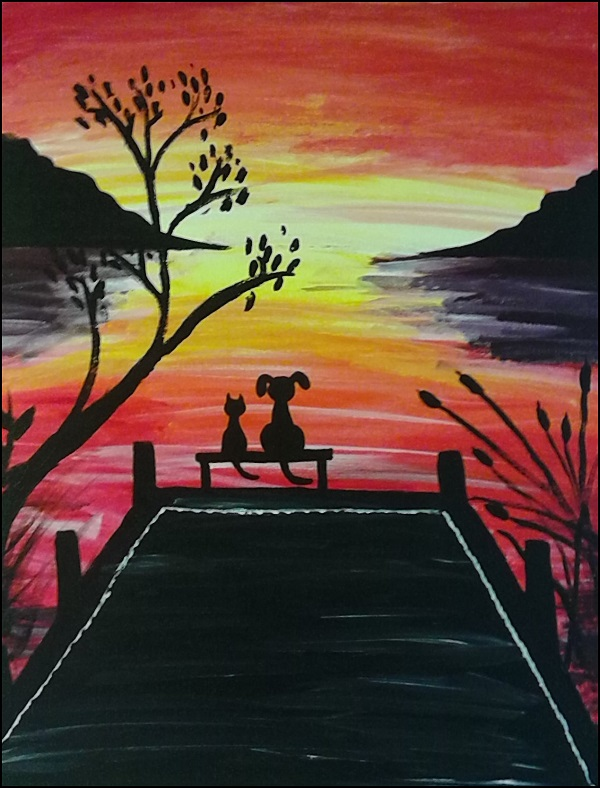 dog cat silhouette sunset painting
